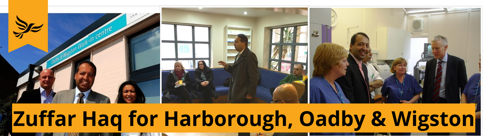 Zuffar Haq and the Lib Dems campaigning in Harborough, Oadby and Wigston